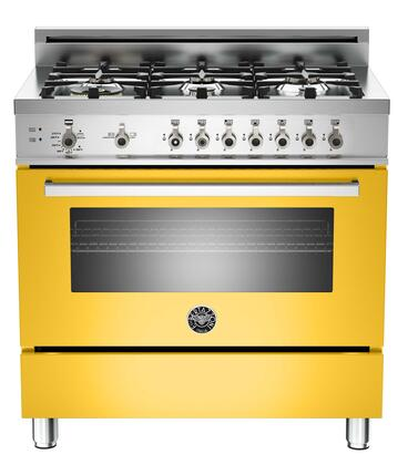 "Bertazzoni PRO366GASGILP 36"" Professional Series Gas Freestanding Range with Sealed Burner Cooktop, 4.4 cu. ft. Primary Oven Capacity, Storage in Yellow"