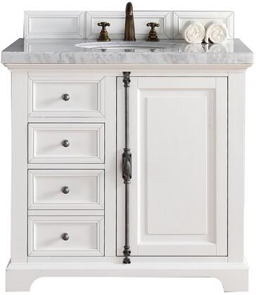 "James Martin Providence Collection 238-105-V36-CWH- 36"" Cottage White Single Vanity with Plantation Style Hardware, One Soft Close Door, Two Soft Close Drawers and"
