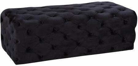 """Meridian Casey Collection 121X 52"""" Ottoman with Velvet and Deep Tufting"""