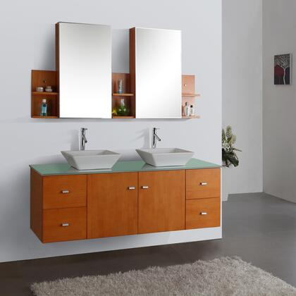"Virtu USA Clarissa 61"" MD-457-x-HO Double Sink Bathroom Vanity in Honey Oak Finish with x Countertop, Medicine Cabinet Mirrors, Faucets, 2 Doors, 4 Drawers and Brushed Nickel Hardware"