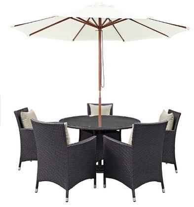 Modway Convene EEI2193EXP 7 PC Outdoor Patio Dining Set with 5 Armchairs, Round Glass Top Table, Umbrella, Machine Washable Cushions and Synthetic Rattan Weave Construction in Espresso Color