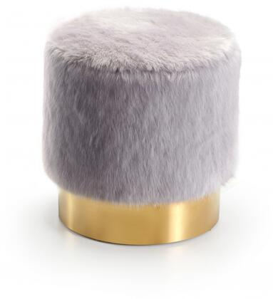 Meridian Estelle Collection 124X Ottoman with Fur and Gold Stainless Steel Base