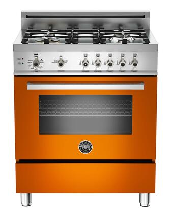 "Bertazzoni PRO304GASAR 30"" Professional Series Gas Freestanding Range with Sealed Burner Cooktop, 3.6 cu. ft. Primary Oven Capacity, Storage in Orange"
