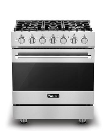 Viking RVDR3305BSS 3 Series Stainless Steel Dual Fuel Freestanding Range with Sealed Burner Cooktop, 4.7 cu. ft. Primary Oven Capacity,