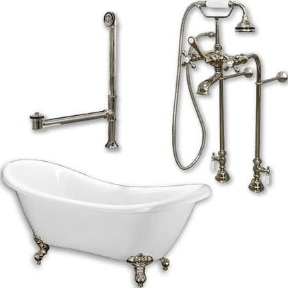 """Cambridge ADES398463PKG Acrylic Double Ended Slipper Bathtub 68"""" x 28"""" with no Faucet Drillings and Complete Plumbing Package"""