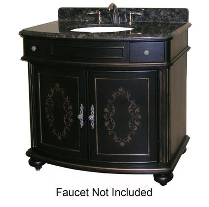 "Kaco Arlington Collection 5300-3600-1025 36"" Vanity with 2 Doors, Bun Feet and Decorative Moldings in Ebony Finish with X Top"
