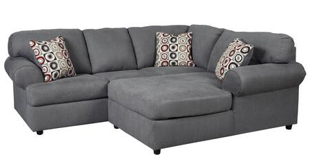 Signature Design by Ashley Jayceon 64902CHS 2-Piece Fabric Sectional Sofa with X Arm Facing Chaise and X Arm Facing Sofa in Steel Grey