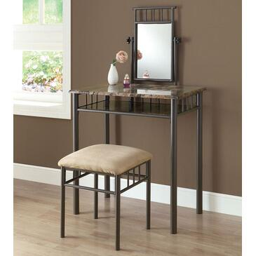 Monarch I 30X2 Two Piece Vanity Set, with Mirror, Metal Legs, and Stool, in Cappuccino Finish