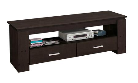 """Monarch I260X1 47"""" TV Stand with Open Shelf, Silver Handles and 2 Gliding Drawers in"""