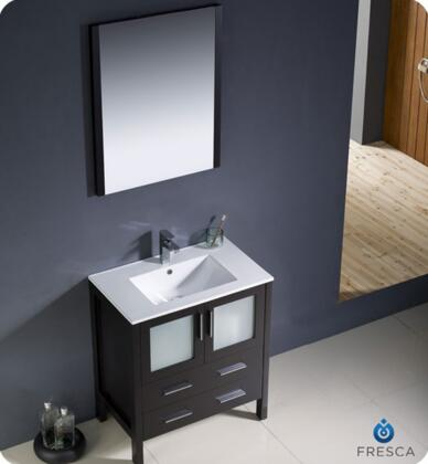 "Fresca Torino Collection FVN6230XX-UNS 30"" Modern Bathroom Vanity with Integrated Sink, Mirror and 2 Soft Closing Drawers in"