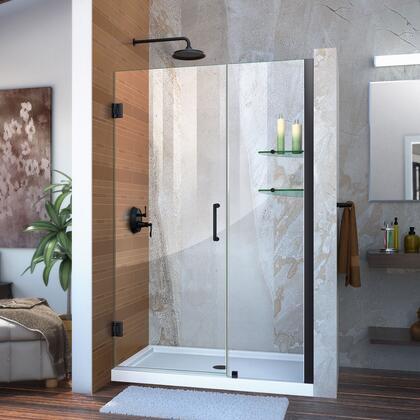 Unidoor Shower Door with Base 12 28D 18P glass shelves 09 72 WM 11 16