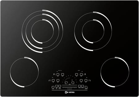 """Verona VECTXM304 30"""" Electric X 4 Element Cooktop With Slide Touch Controls, Peacock Tail Bar, Low Power Scale, Hot Surface Indicator, Residual Heat Indicator and Acoustic Buzzer in Black"""