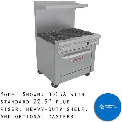 """Southbend 4367 Ultimate Range Series 36"""" Gas Range with Four Pyromax Burners and Standard Cast Iron Grates, Up to 160000 BTUs (NG)/124000 BTUs (LP)"""