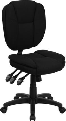 "Flash Furniture GO-930F-BK-GG 18.25"" Mid-Back Fabric Multi-Functional Ergonomic Task Chair, Pillow Top Cushioned Seat and Back, Triple Paddle Control Mechanism, and Heavy Duty Nylon Base"