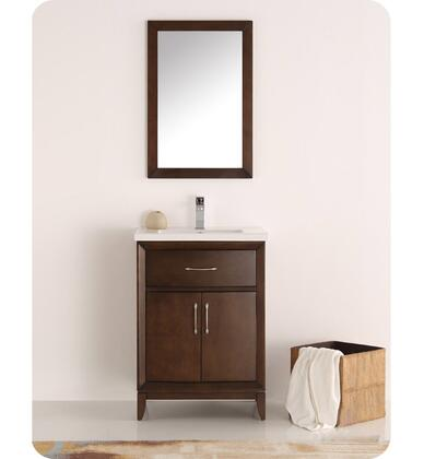 "Fresca Cambridge Collection FVN2124 24"" Traditional Bathroom Vanity with Mirror, 2 Soft Close Doors, Tapered Legs and Integrated Ceramic Sink & Countertop in"