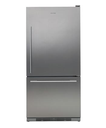 Fisher Paykel RF175WDRX1 Active Smart Series Counter Depth Bottom Freezer Refrigerator with 17.5 cu. ft. Total Capacity 5.1 cu. ft. Freezer Capacity 2 Glass Shelves