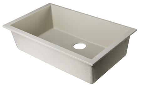 """Alfi AB3020UM-XX 30"""" Single Bowl Kitchen Sink Granite Composite and Under Mount Installation Hardware in"""