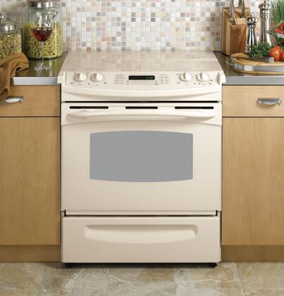 "GE Profile Series PS968TP 30"" Slide-In Electric Range with 5 Ribbon Elements, 4.1 cu. ft., Conection Oven, Self-Clean, Storage Drawer, Bridge Element and TrueTemp System"