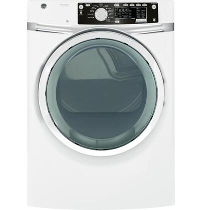 """GE GFDS260GFWW Front Load Gas 8.1 cu. ft. Capacity Yes 28"""" 28""""Stainless Steel Digital and Knobs No Big Load Dryer 