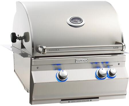 "FireMagic A430I6EAX Aurora 30"" Built-In Grill with E-Burners, Rotisserie, Back Burner, and Analog Thermometer"