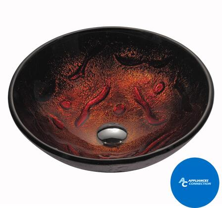 "Kraus GV710X Multicolor Series 17"" Lava Round Vessel Sink with 12-mm Tempered Glass Construction, Easy-to-Clean Polished Surface, and Included Pop-Up Drain with Mounting Ring"