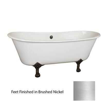 "Barclay CDR7H68LP Everly 68"" Cast Iron Double Roll Tub, with 7"" Holes, 45 Gallon Capacity, 13"" Tub Depth, and Elegant Lion Paw Feet"