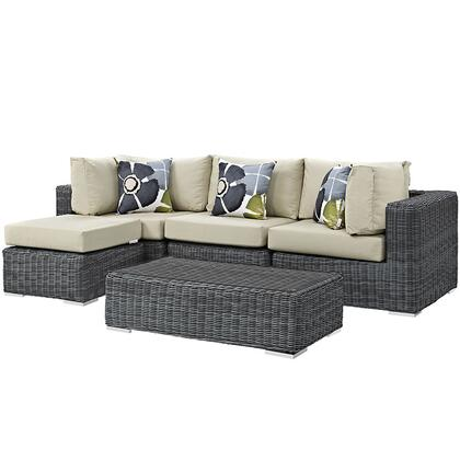 Modway Summon Collection EEI-2398-GRY- 5-Piece Outdoor Patio Sunbrella Sectional Set with Armless Chair, Coffee Table, Ottoman and 2 Corner Sections in