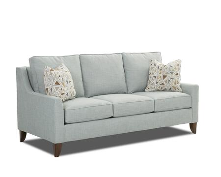 "Klaussner Belton Collection K10200-S 80"" Sofa with Track Arms, Loose Back Cushions and Tapered Legs in X and Pillows in X"