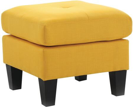 """Glory Furniture 23"""" Ottoman with Tufted Seat, Square Shape, Tapered Legs and Fabric Upholstery in"""