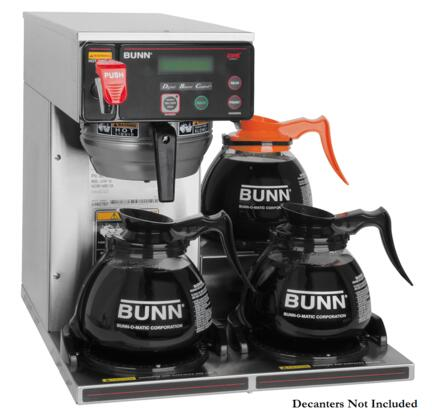 Bunn-O-Matic 38700.00 AXIOM-DV-3 RFID BrewWISE 12 Cup Dual-Volt Coffee Brewer with 3 Warmers, Automatic Warmer Shut Off, Electronic Diagnostics and Built-in Tank Drain in Stainless Steel