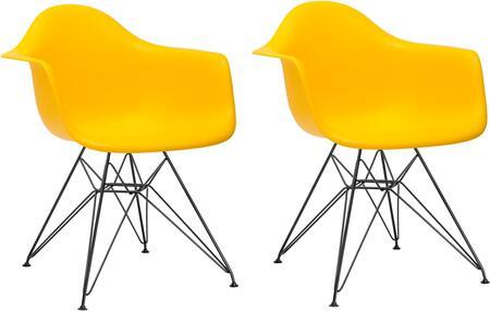 EdgeMod EM111BLKYELX2 Padget Series Modern Metal Frame Dining Room Chair