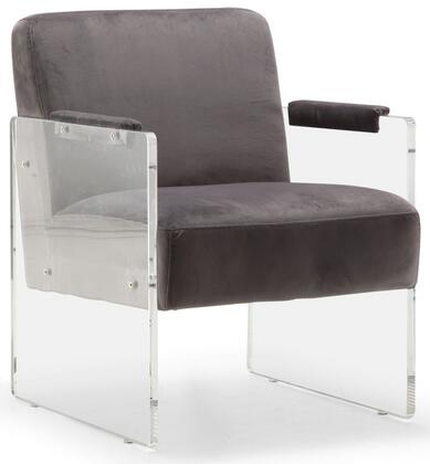 """Meridian Eva Collection 529-X 24"""" Accent Chair with Velvet, Acrylic Arms and Contemporary Design"""