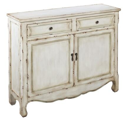 Coast to Coast 1412 Console Cupboard with Two Doors, Scalloped Bottom, Chamfered Corners, Molding Frames, Removable Shelf and Two Drawers in