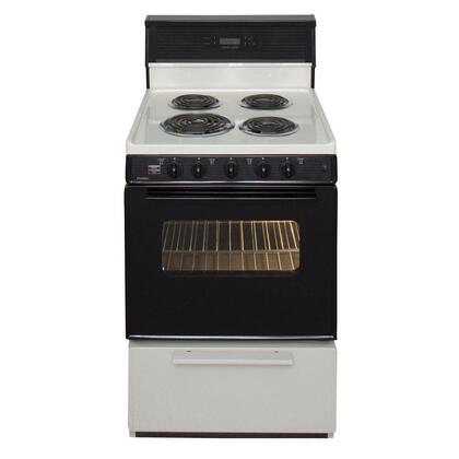 Premier ECK340 24' Freestanding Electric Range with 2.97 cu. ft. Capacity, 4 Burners, Lifetime Warranty on Top Burner Elements, Surface Signal Light and Full Width Storage Drawer in