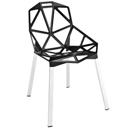 Modway EEI-1016 Connections Dining Chair with Geometric Aluminum Rod Design, Black Plastic Foot Caps, Tubular Chrome Legs, and Indoor/Outdoor Compatibility
