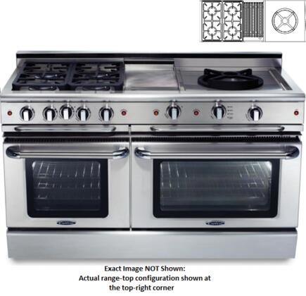 "Capital Precision Series CSB604BWW-X 60"" Freestanding Dual Fuel Electric Range with 4 Sealed Burners, Primary 4.6 Cu. Ft. Oven Cavity, Secondary 3.1 Cu. Ft. Oven Cavity, and Moto-Rotis, in Stainless Stee"