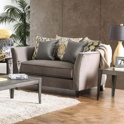 """Furniture of America Chantal Collection SM266X-LV 69"""" Love Seat with Premium Velvet-like Fabric, Flared Arms and Contrasting Welting Trim in Gray"""