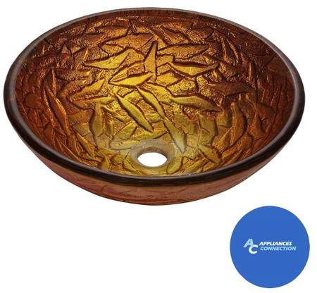 """Kraus CGV39219MM1007 Nature Series 17"""" Blaze Round Vessel Sink with 19-mm Tempered Glass Construction, Easy-to-Clean Polished Surface, and Included Ramus Faucet"""