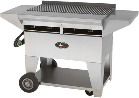 """Lazy Man A2CC-SSE Model A Elite Series 57"""" Professional Stainless Steel Country Club Catering Grill with 80,000 BTU, 4 Burner and Stainless Steel Shelves"""