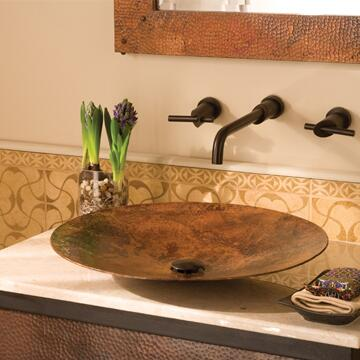 "Native Trails CPS36 Maestro  Lavatory Sink with 1.5"" Drain, Recycled Copper, Vessel and Finished in Tempered Copper"