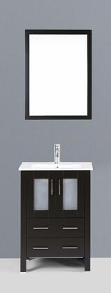 "Bosconi AB124UXX 24"" Single Espresso Vanity with Standard Single Bowl Sink in White"