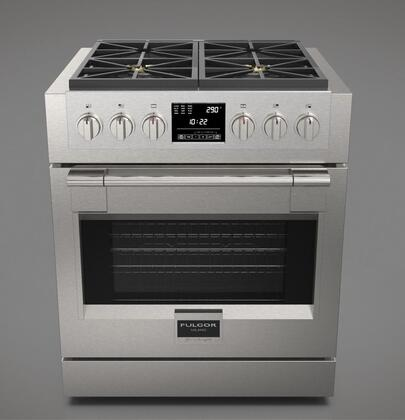 Fulgor Milano F6PDF3 600 Series Star K, Sofia Freestanding Dual Fuel Range with True Convection Oven, 3 Halogen Lighting, Electronic Ignition and Re-ignition and Self-Cleaning: Stainless Steel