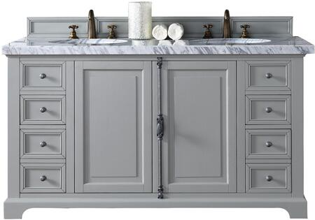 """James Martin Providence Collection 238-105-V60D-UGR- 60"""" Urban Gray Double Vanity with Plantation Style Hardware, Two Soft Close Doors, Four Soft Close Drawers and"""