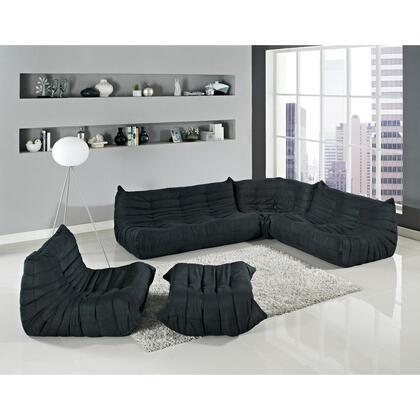 Modway EEI-558 Series Waverunner 5 Piece Modular Sectional Sofa Set with Modern Design, Hardwood Frame, Plush Foam Padding, and Microfiber Upholstered