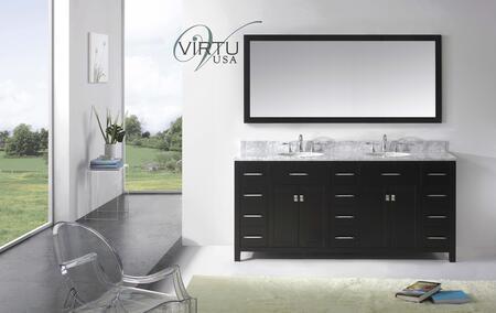 "Virtu USA MD-2172- Caroline Parkway 72"" Double x Sink Bathroom Vanity with Italian Carrara Marble Countertop, Framed Mirror, 2 Doors, 5 Doweled Drawers and Brushed Nickel Hardware in"