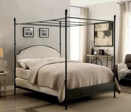 Furniture of America Sinead CM7420X Bed  with Transitional Style, Canopy Bed, Padded Fabric Headboard, Ball Finials and Metal Construction in Gun Metal Finish