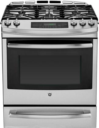 """GE Profile PGS920SEFSS 30"""" Profile Series Slide-in Gas Range with Sealed Burner Cooktop Warming 5.6 cu. ft. Primary Oven Capacity 20000 BTUs"""
