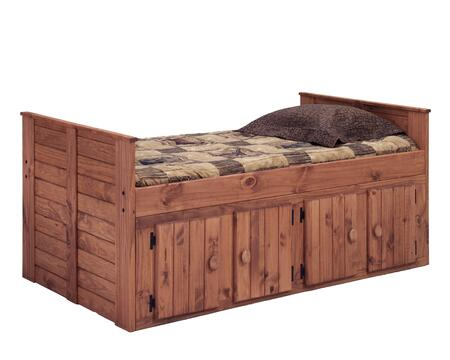 Chelsea Home Furniture 31942X Twin Bed with All Pine Wood Construction, and Rustic Style in Mahogany Stain