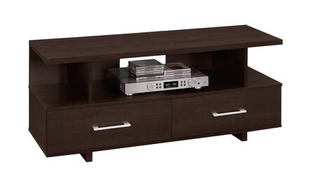 "Monarch I260X2 48"" TV Stand with 3 Open Shelves, Silver Handles and 2 Drawers in"