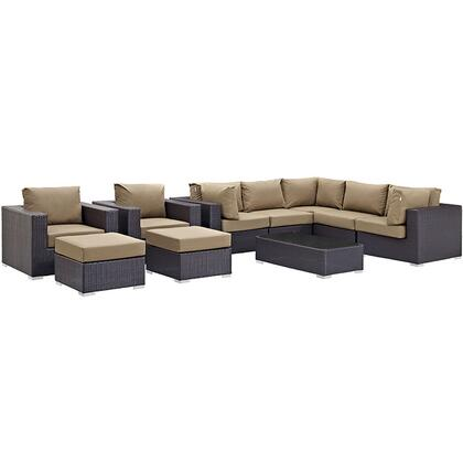 Modway Convene Collection EEI-2169-EXP- 10-Piece Outdoor Patio Sectional Set with Coffee Table, 3 Armless Chairs, 2 Armchairs, 2 Corner Sections and 2 Ottomans in